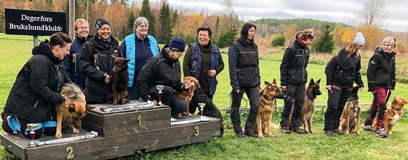 Klubbens senaste tävling blev lyckad med 10 deltagare varav flera från Degerfors Brukshundklubb